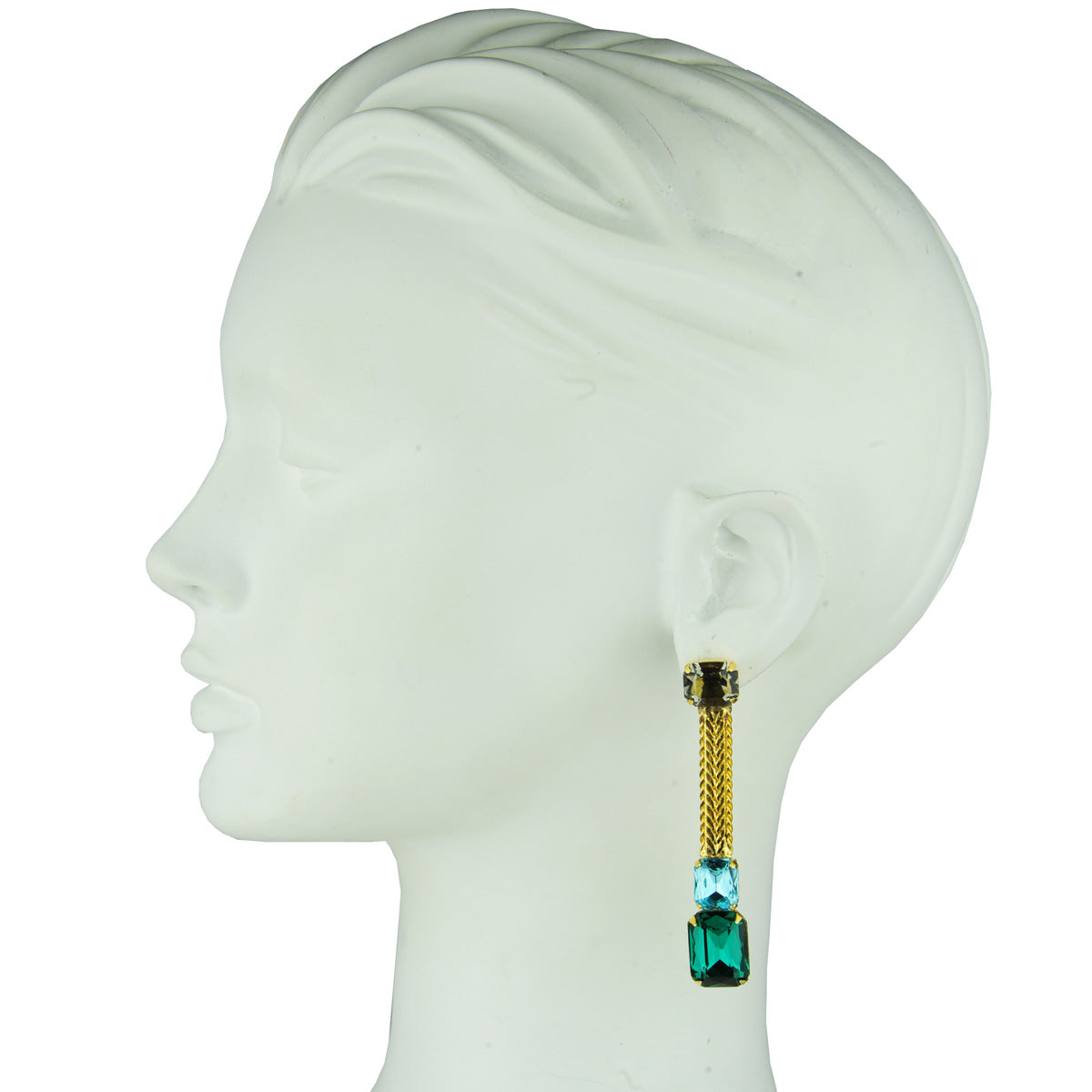Katerina psoma Green and blue crystal dangles