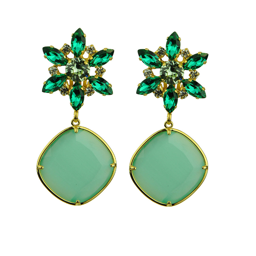 Katerina psoma Crystal Earrings with Aqua Drops