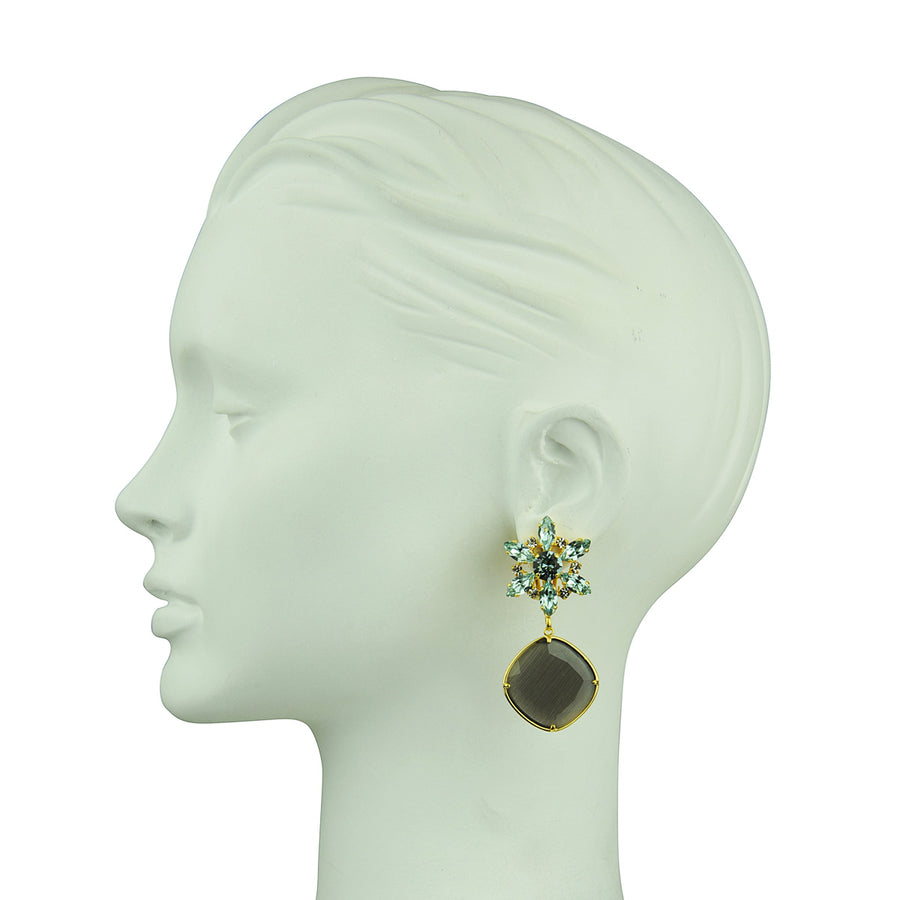 Katerina Psoma Crystal Earrings with Grey Drops detail