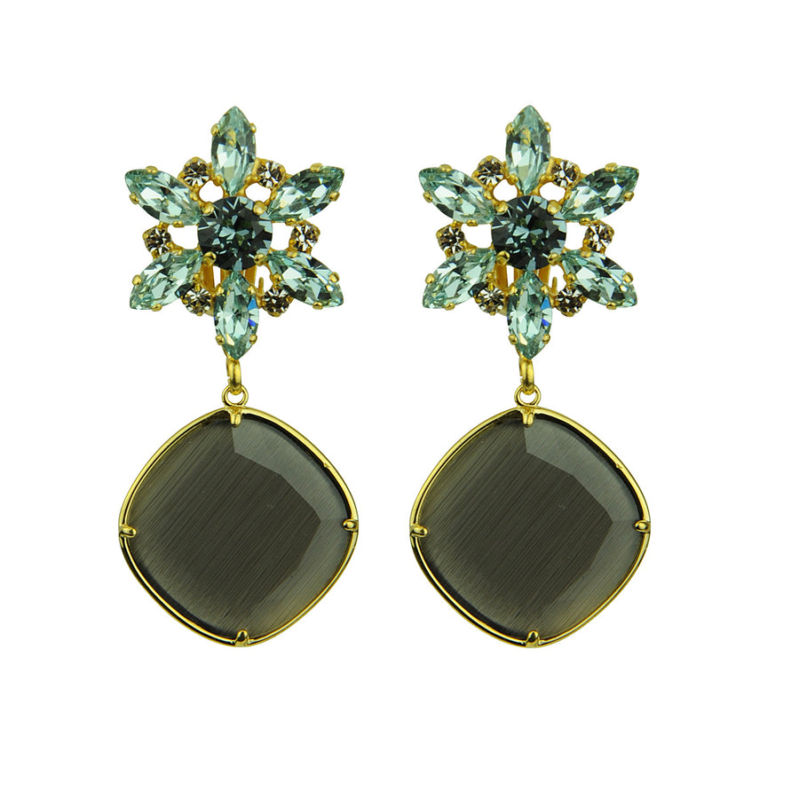 Katerina Psoma Crystal Earrings with Grey Drops