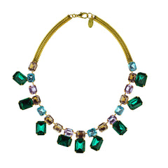 multicolored crystal statement short necklace  katerina psoma
