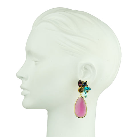 Crystal Dangle Earrings with Pink Drops and crystals katerina psoma