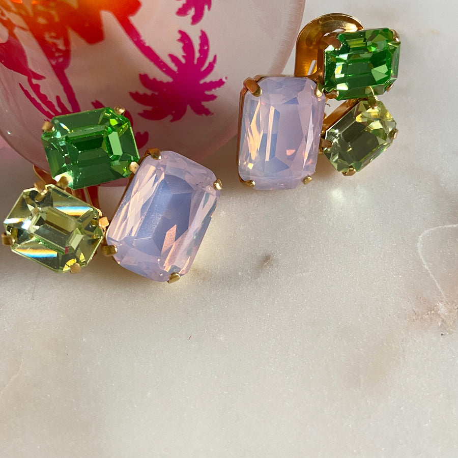 Katerina Psoma  Pink Crystal Clip Earrings instagram