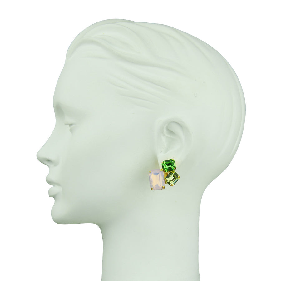 Katerina Psoma Pink Crystal Clip Earrings easy to wear