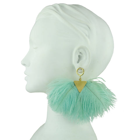 Artemis Almond Green Ostrich Feather and Gold Plated Brass Earrings