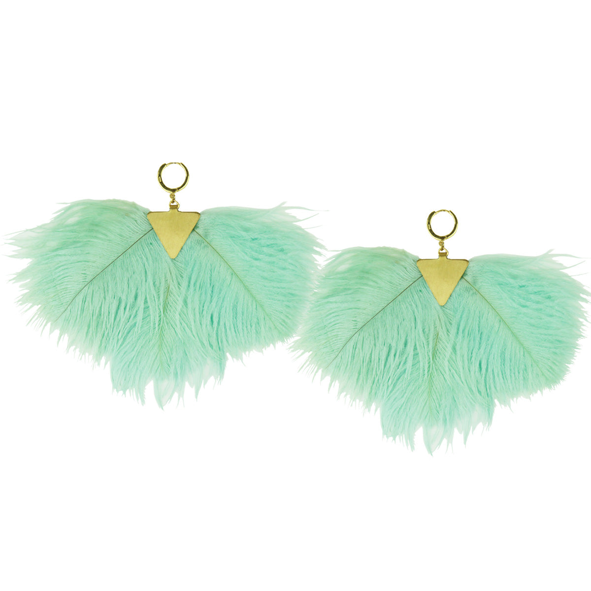 almond green ostrich feathers dangle earrings katerina psoma