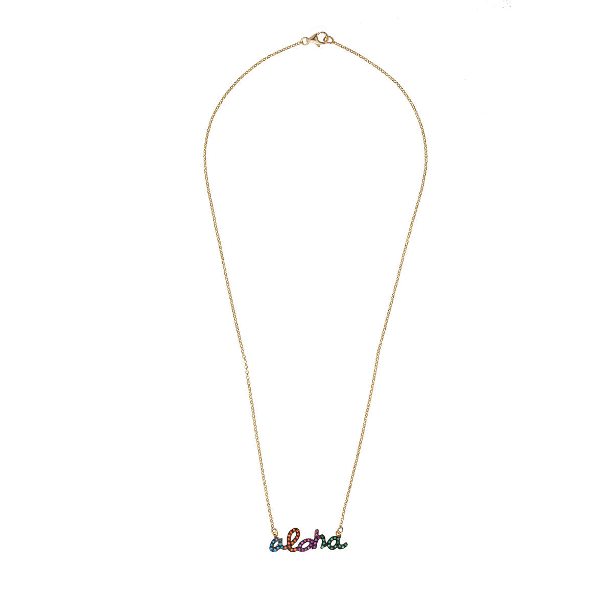 Aloha Gold Plated 925 Sterling Silver Chain Short Necklace