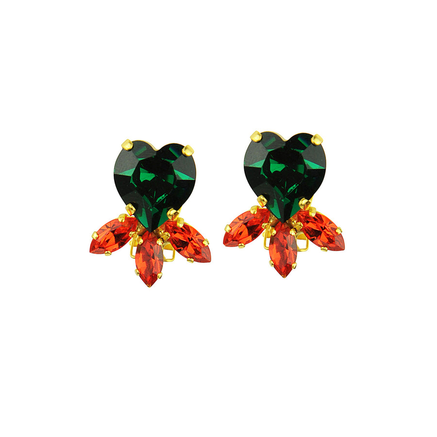 Katerina Psoma Green Heart Crystal Clip Earrings