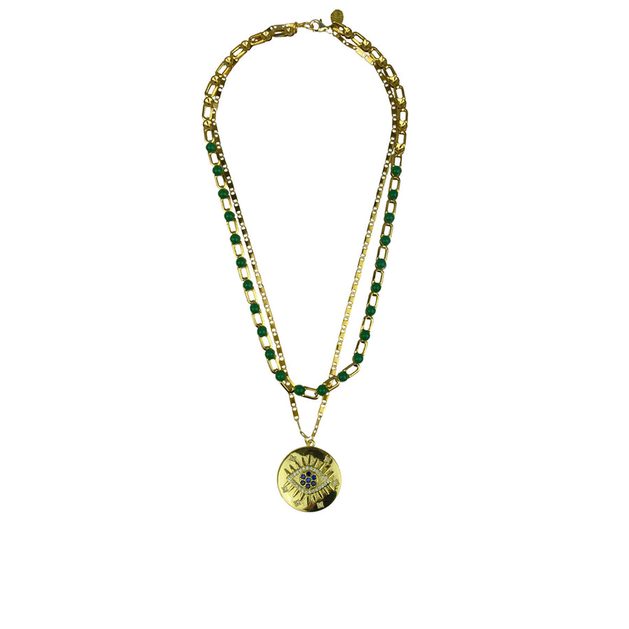 Katerina Psoma Chain Necklace with Green Cabochons
