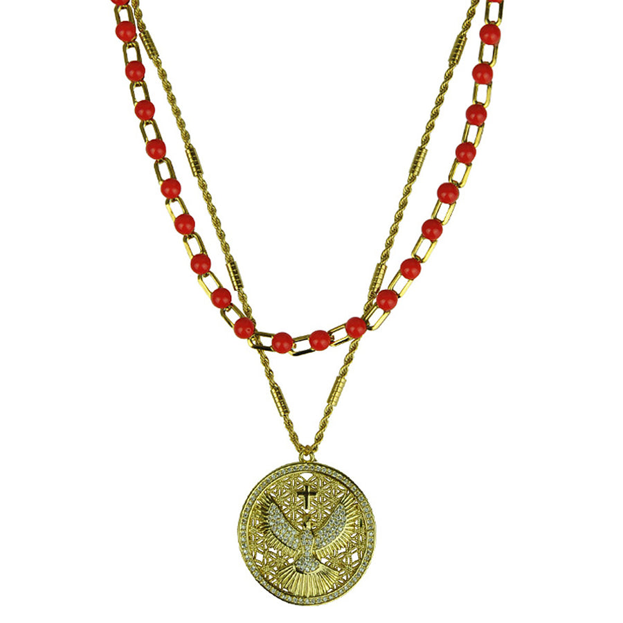 Chain Necklace with Red Cabochons