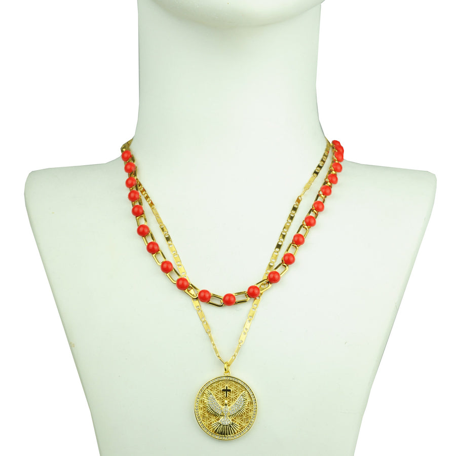 Katerina psoma Chain Necklace with Red Cabochons detail