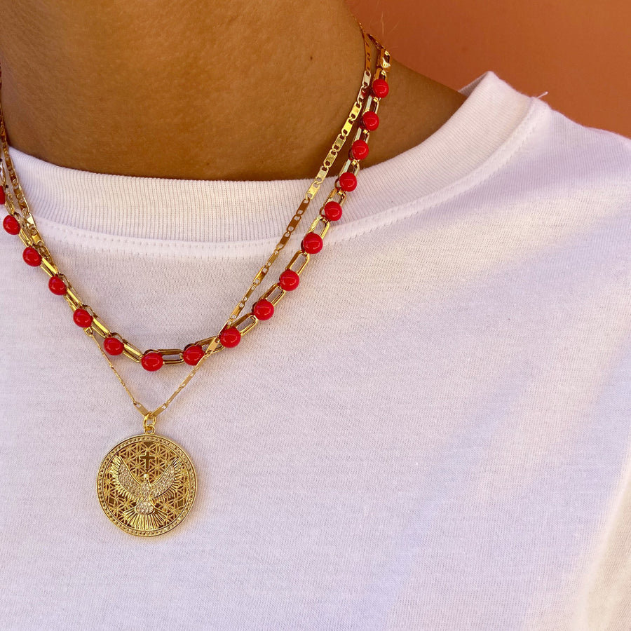 Katerina psoma Chain Necklace with Red Cabochons bohemian style