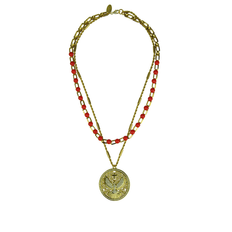 Katerina psoma Chain Necklace with Red Cabochons