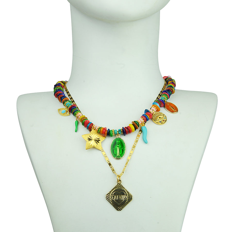 Boho Short multicolour necklace with various charms Katerina psoma