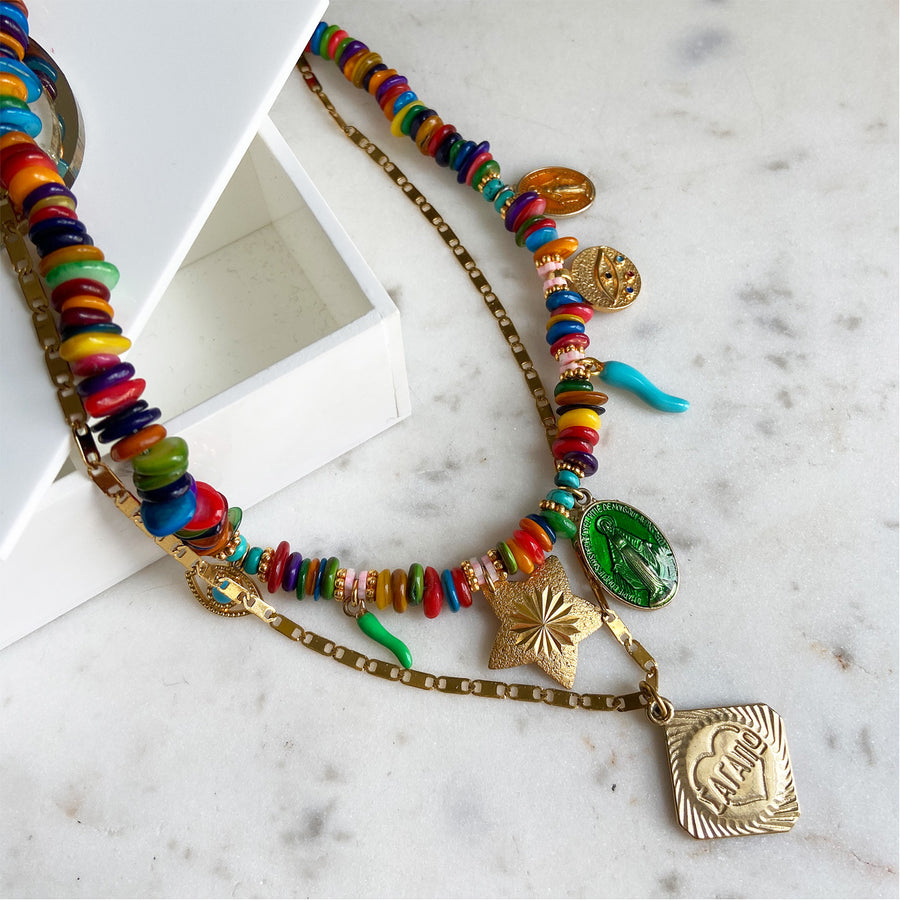 Short multicolour necklace with various charms Katerina psoma bohemian style