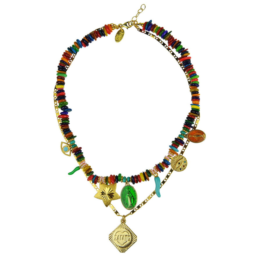 Bohemian Short multicolour necklace with various charms Katerina psoma