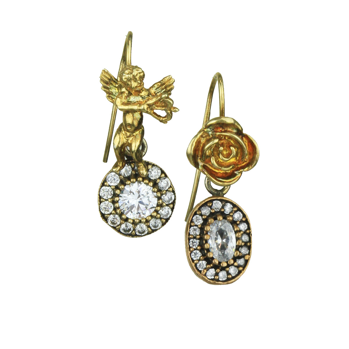 Aylin Gold Plated 925 Sterling Silver Earrings and Crystal Drops