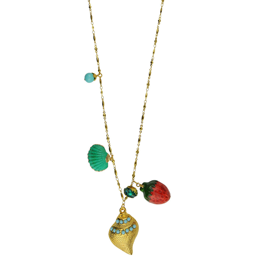 Long gold plated metal chain necklace with charms katerina Psoma