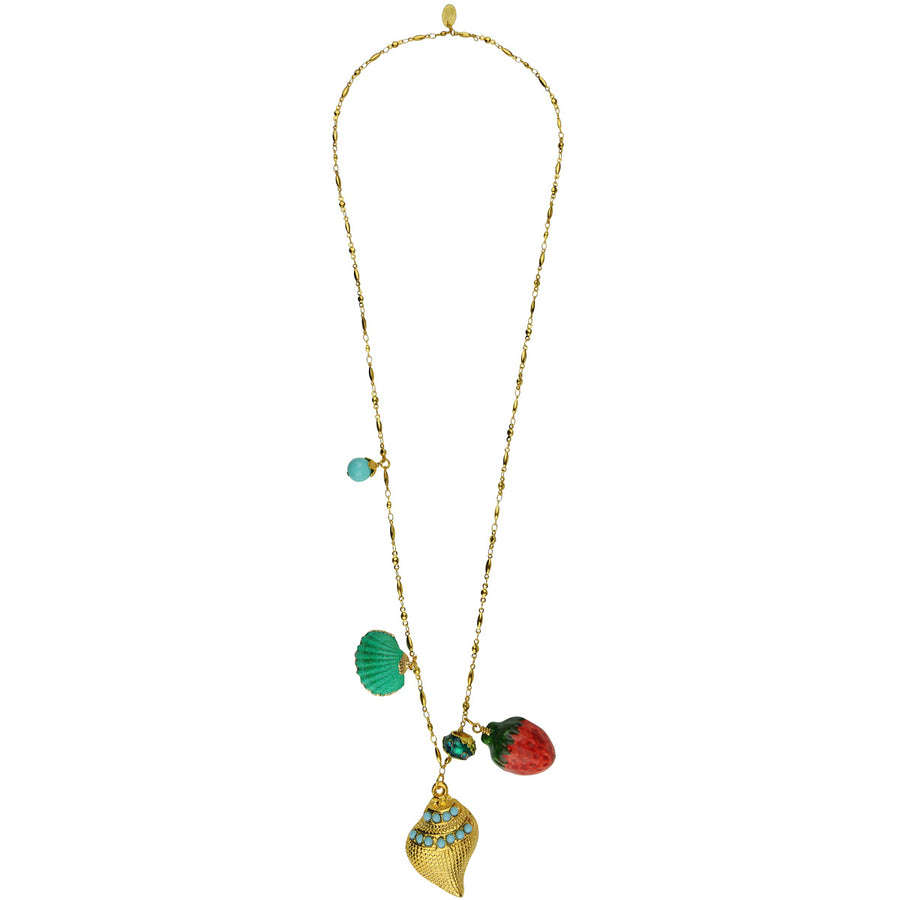 Long gold plated metal chain necklace with charms katerina Psoma bohemian style