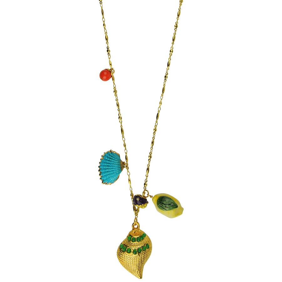 Gold plate chain long necklace with charms, shells and beads Katerina psoma
