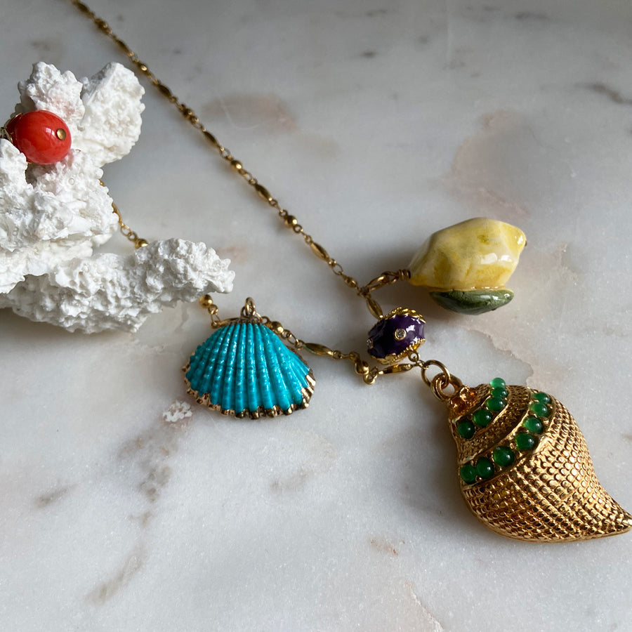 Gold plate chain long necklace with charms, shells and beads Katerina psoma instagram