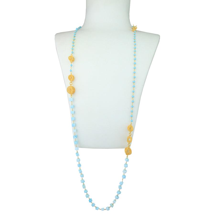 Aurora Long Necklace with Apatite and Turquoise Beads