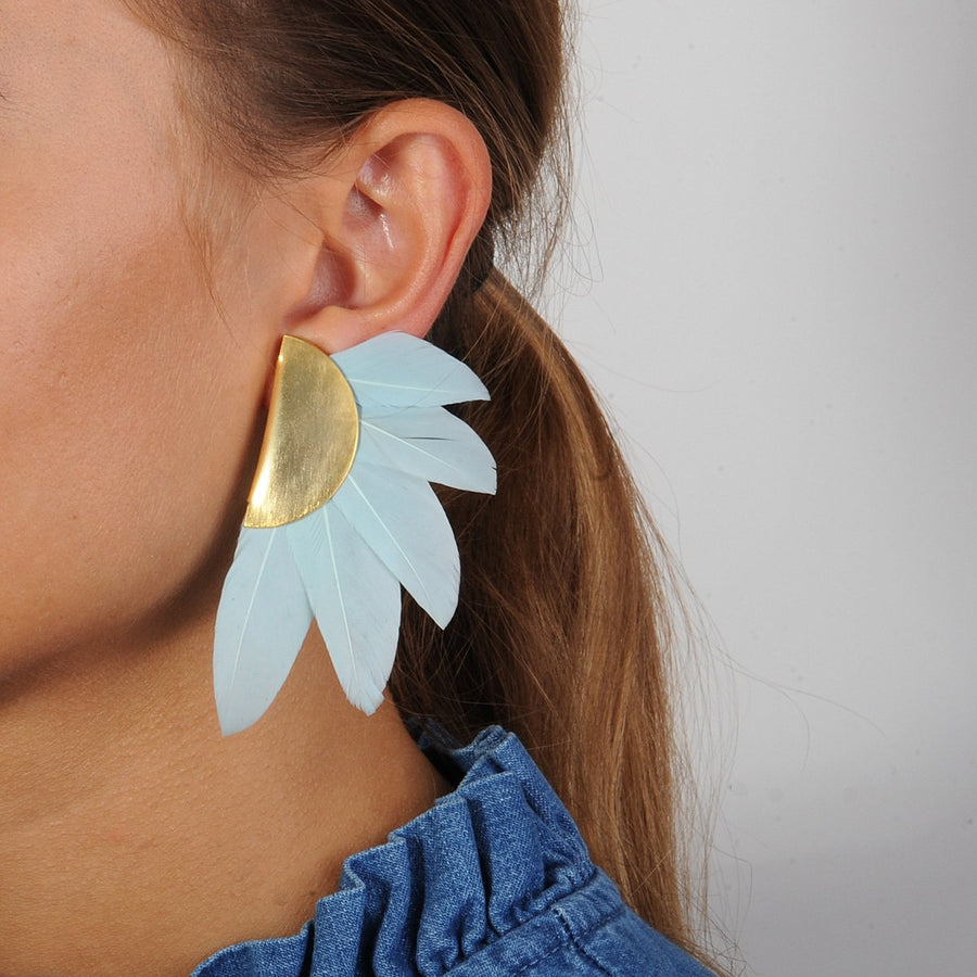 light blue feather clip earrings katerina psoma statement