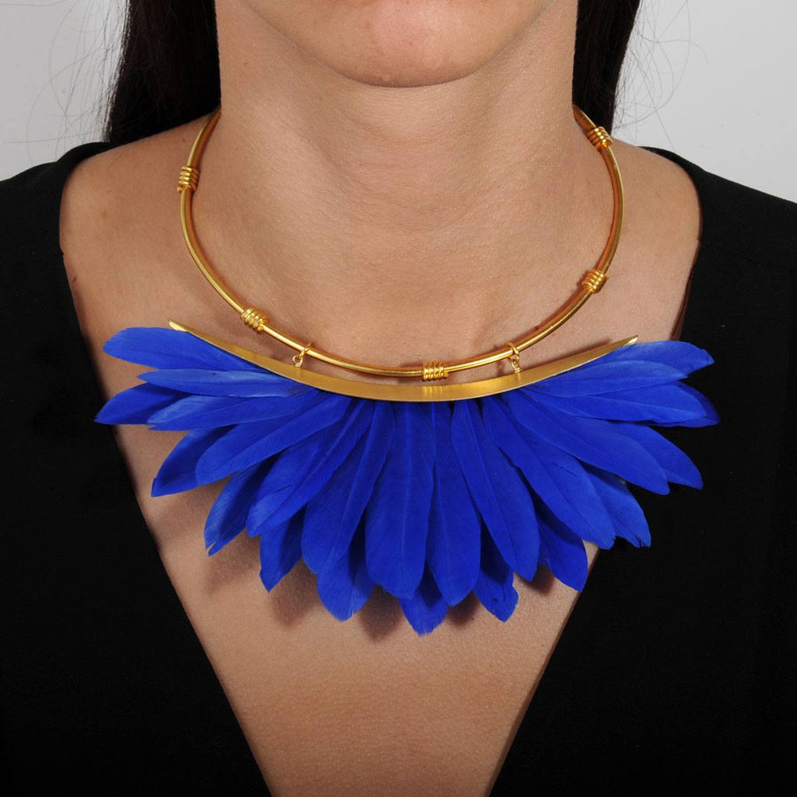 Artemis Blue Feather Gold Plated Collar Necklace