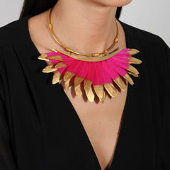 Artemis Fuschia and Gold Feather Collar Necklace