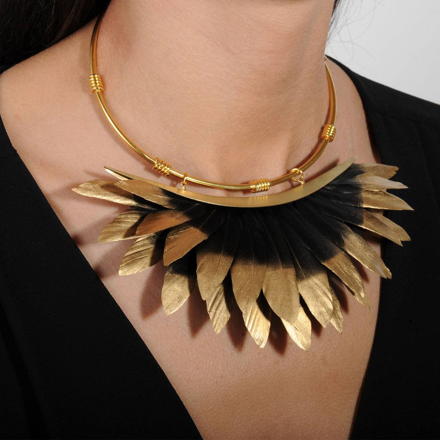 Artemis Black and Gold Feather Collar Necklace