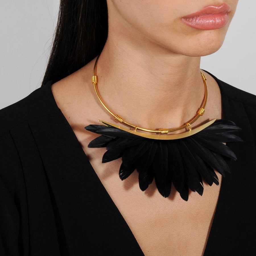 Artemis Black Feather Gold Plated Metal Collar Necklace