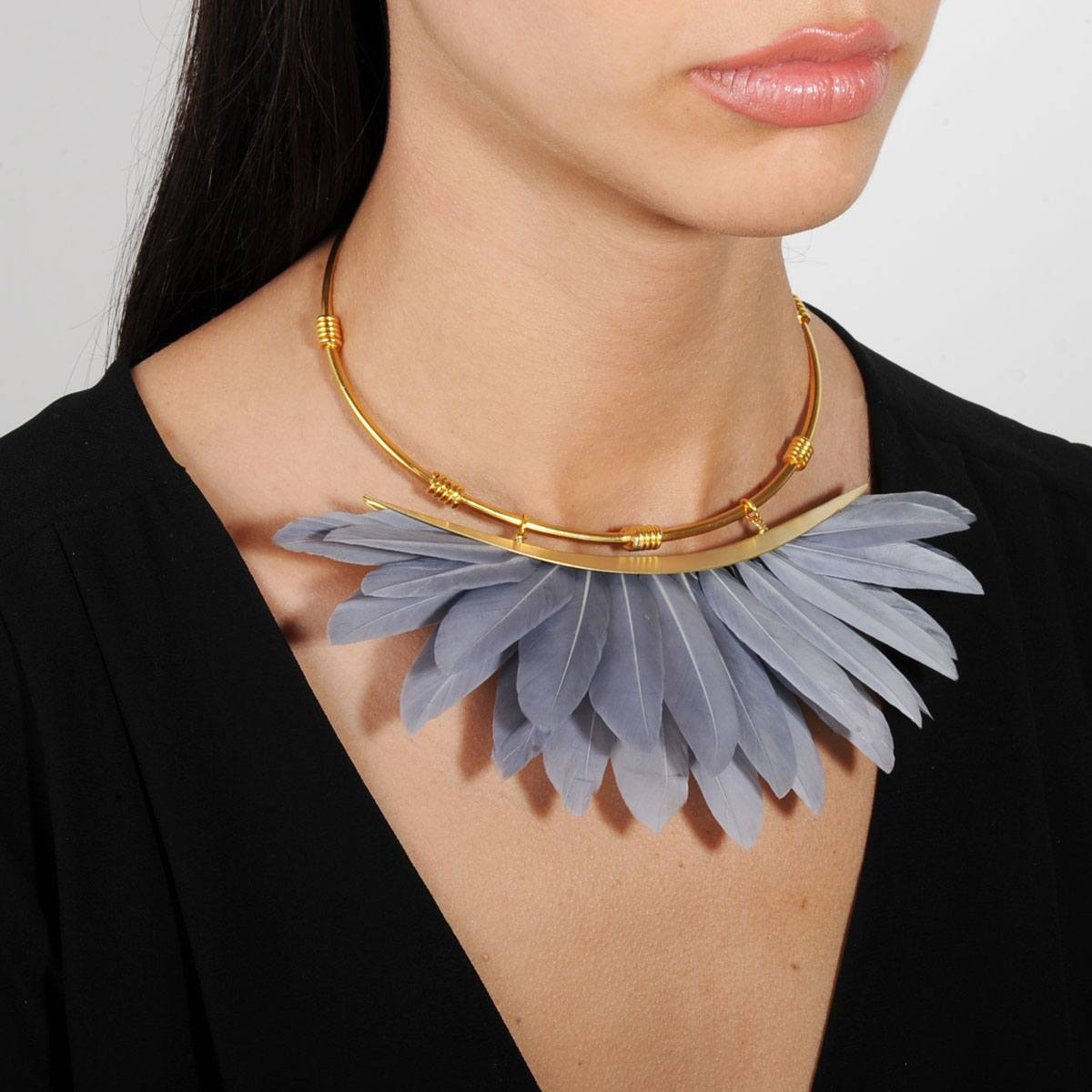 Artemis Grey Feather Gold Plated Metal Collar Necklace