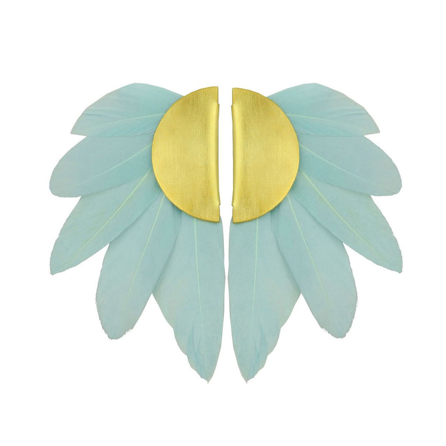 light blue feather clip earrings katerina psoma
