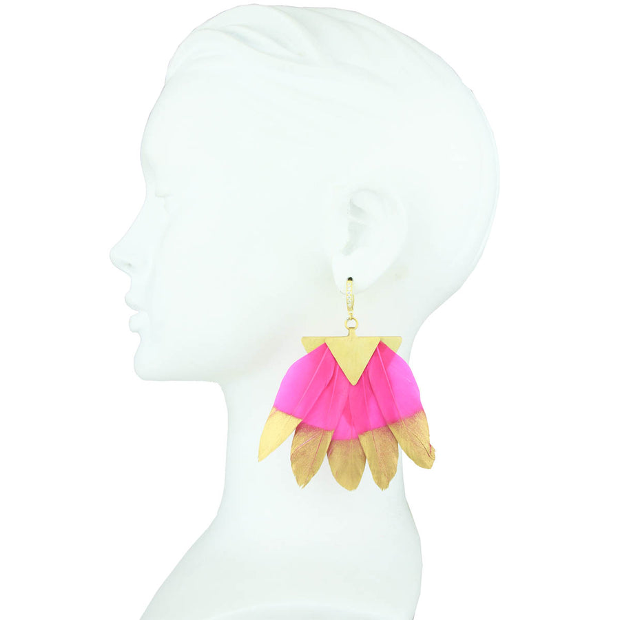fuchsia and gold feather dangle silver earrings