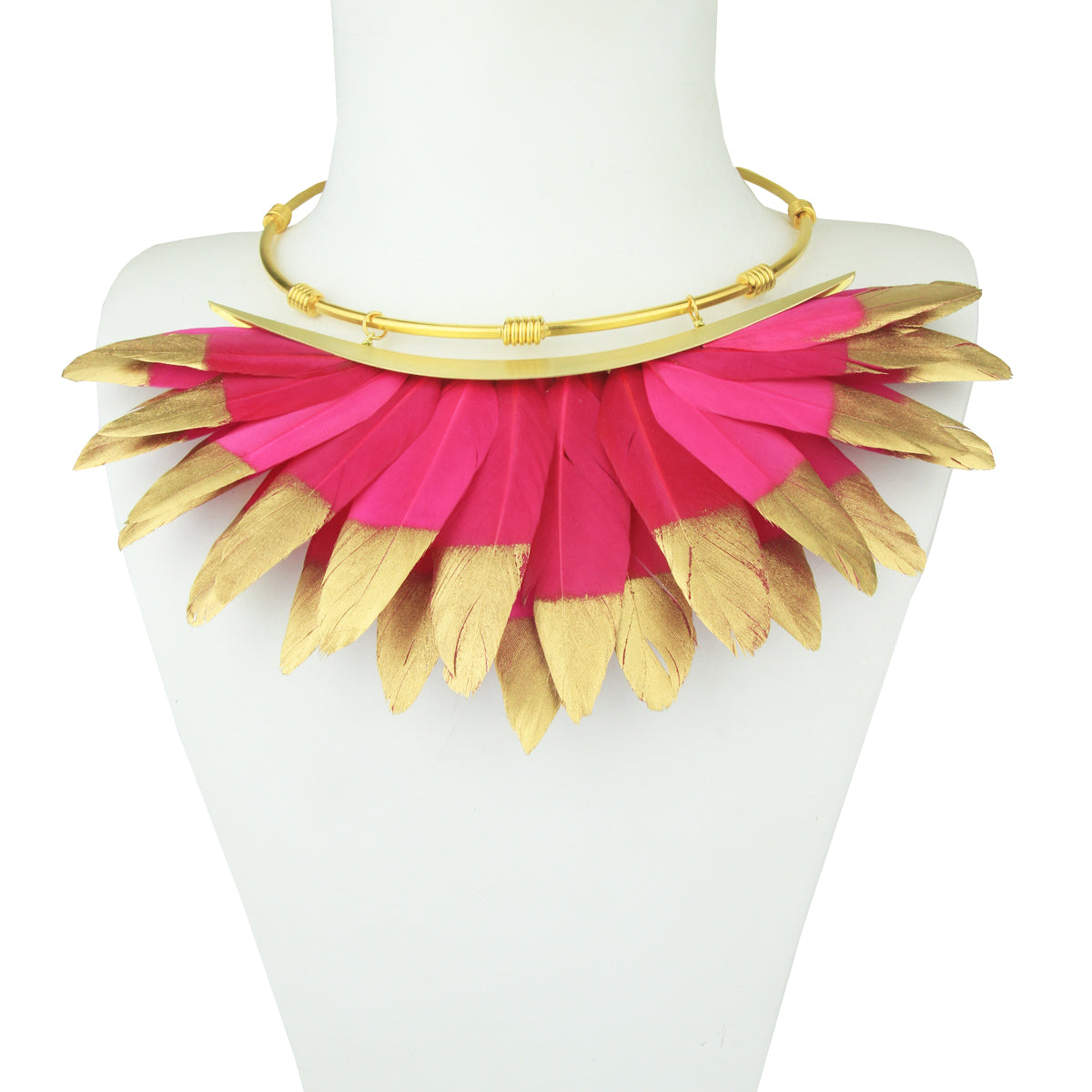fuchsia and gold feather necklace