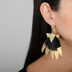 dangle statement earrings with black and gold feathers