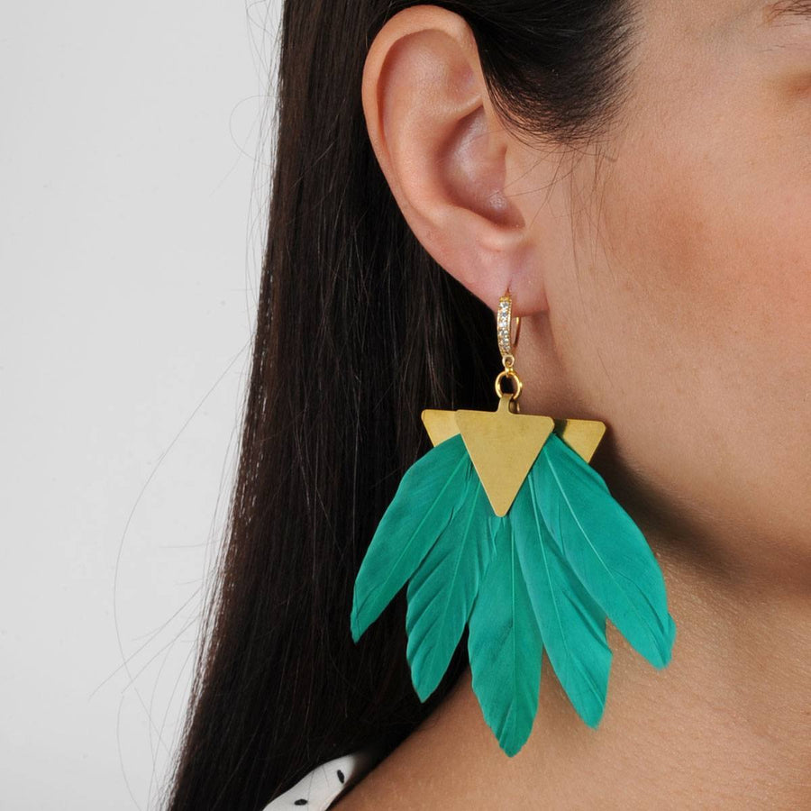 Green Feather Gold Plated Metal Earrings close up katerina psoma
