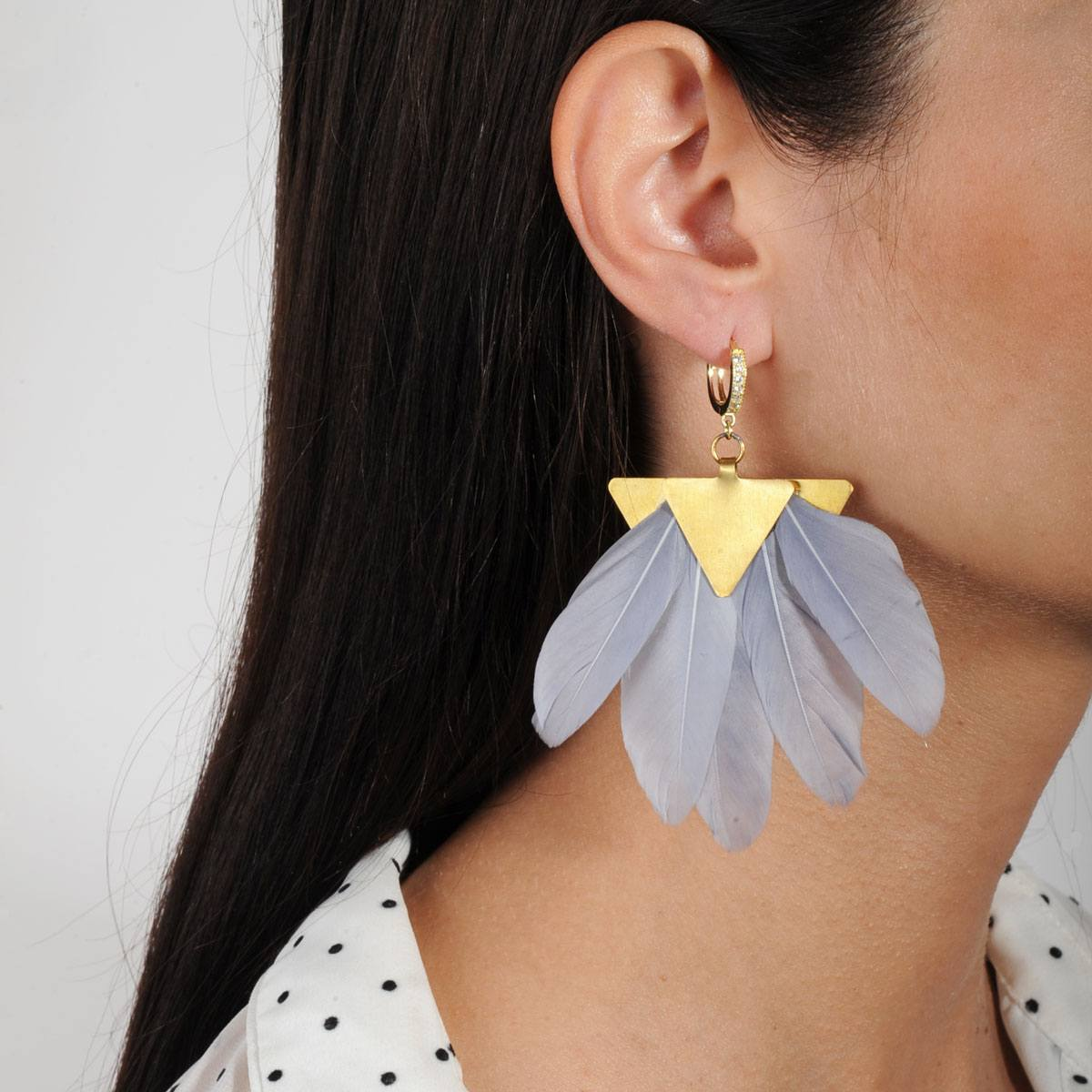 Artemis Grey Feather and Gold Plated Brass Earrings