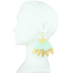 silver gold plated earrings with light green and gold feathers