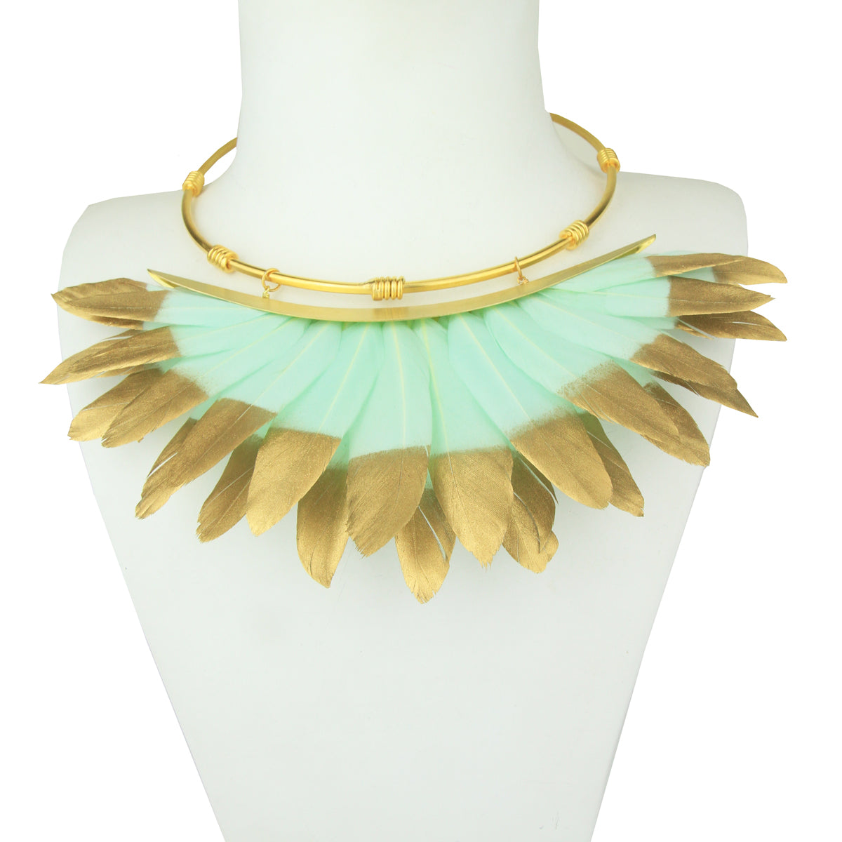 green and gold feather necklace gold plated metal collar