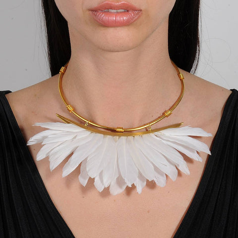 Artemis White Feather Gold Plated Metal Collar Necklace