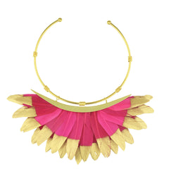 fuchsia and gold feather collar necklace katerina psoma