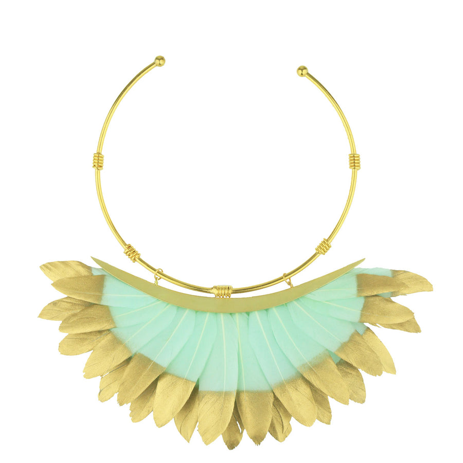 veraman and gold feather collar necklace katerina psoma