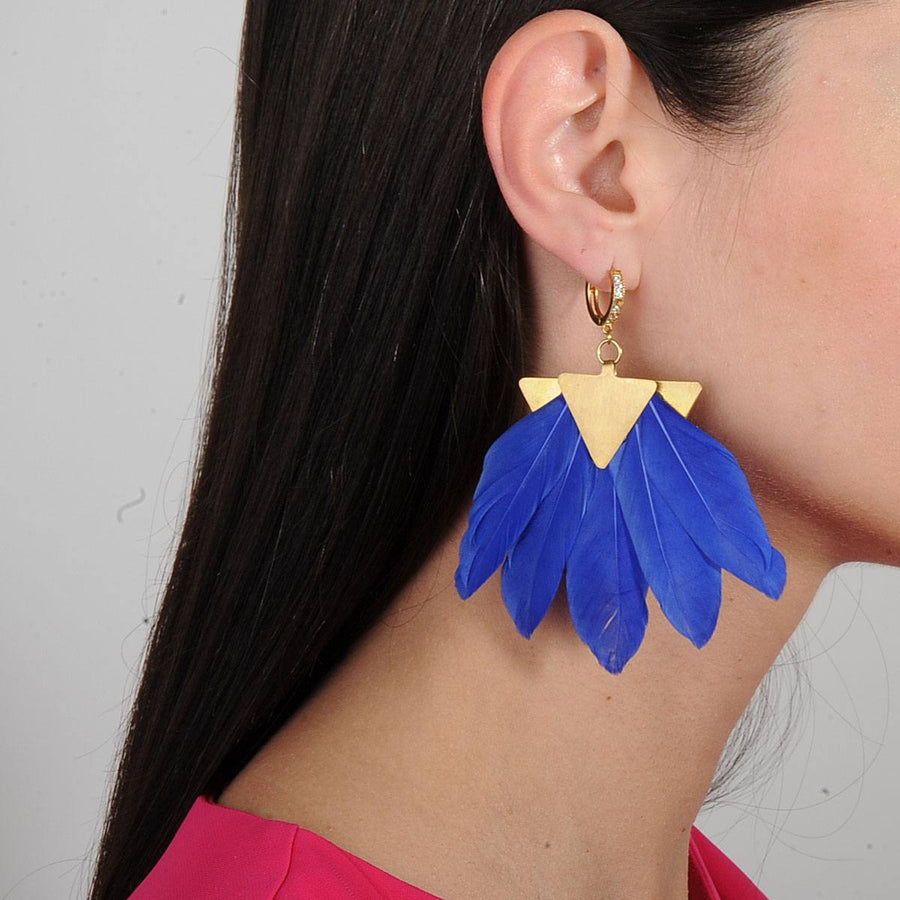 Artemis Blue Feather Gold Plated Metal Earrings