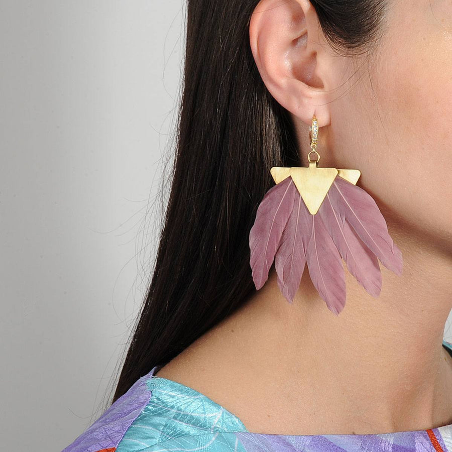 Artemis Dark Pink Feather Gold Plated Metal Earrings