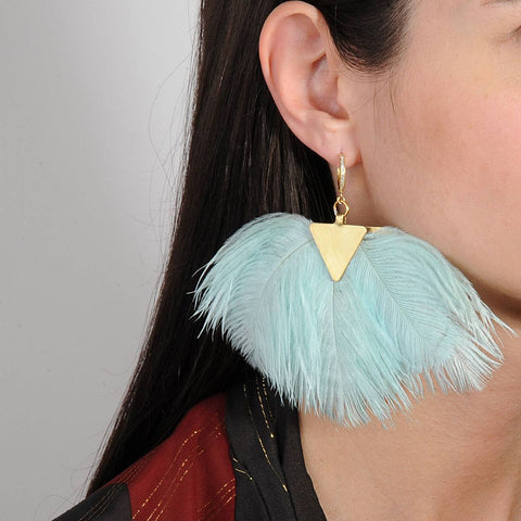 Artemis Almond Green Ostrich Feather and Gold Plated Earrings