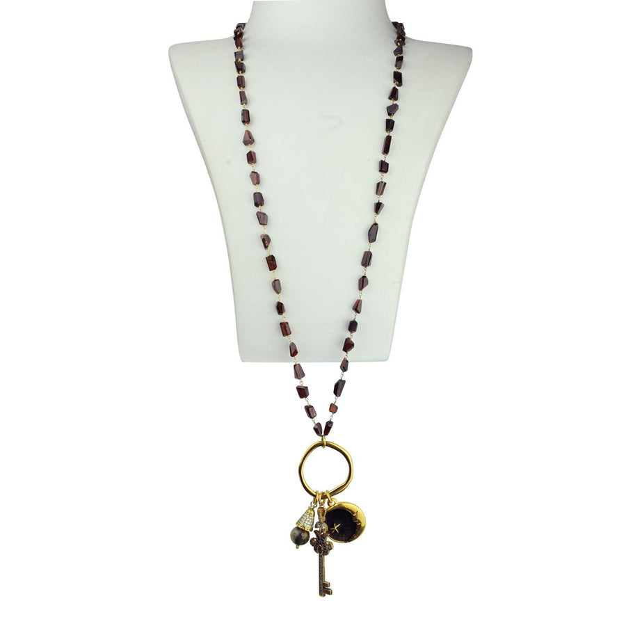 Long Necklace with Faceted semiprecious stones and Charms katerina psoma