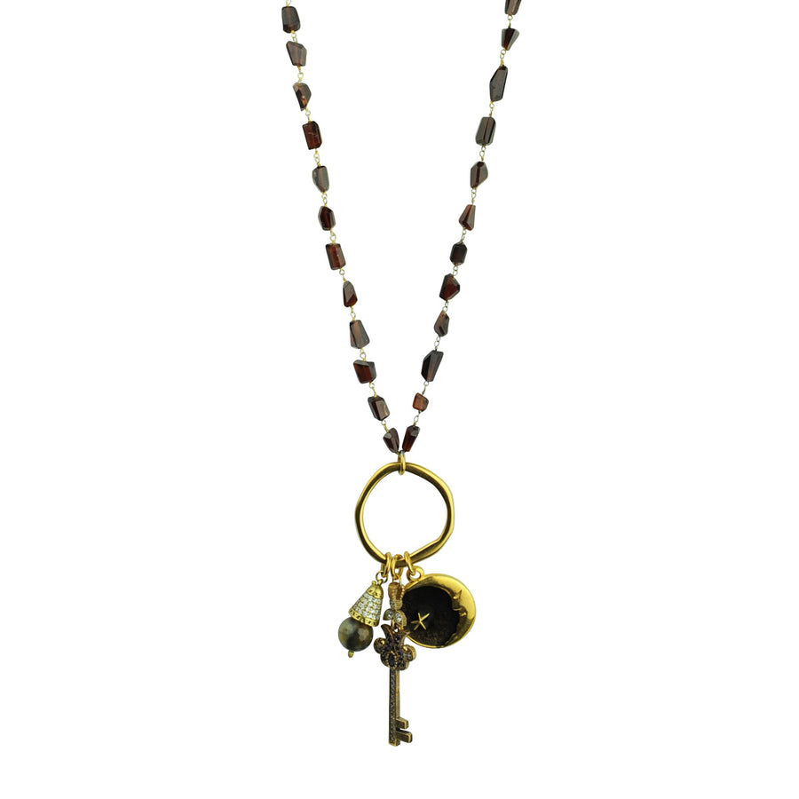 Long Necklace with Faceted Garnet and Charms katerina psoma