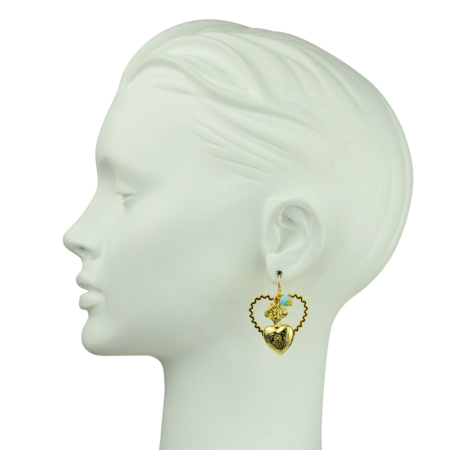 Unmatched Hook Earrings with Charms Katerina psoma gold plated islver