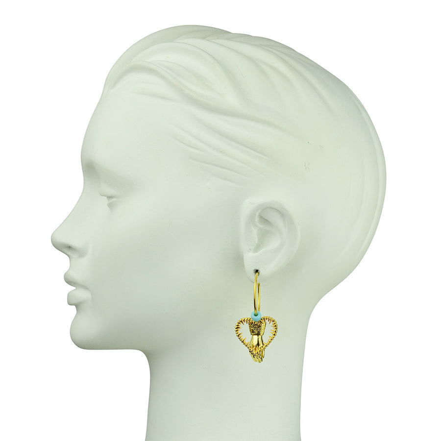 Katerina Psoma  Unmatched Hoop Earrings with Charms bust left